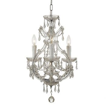 """Crystorama Maria Theresa 4-Light 21"""" Mini Chandelier in Chrome with Clear Italian Crystals"""