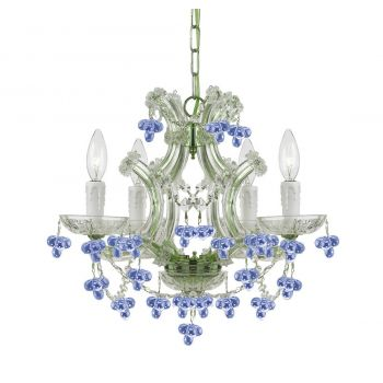 """Crystorama Maria Theresa 4-Light 15"""" Mini Chandelier in Chrome with Hand Cut Crystal Crystals"""