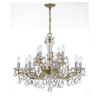 """Crystorama Maria Theresa 12-Light 26"""" Traditional Chandelier in Gold with Clear Italian Crystals"""