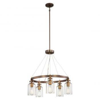 """Minka Lavery Morrow 5-Light 24"""" Transitional Chandelier in Harvard Court Bronze with Gold Hi"""
