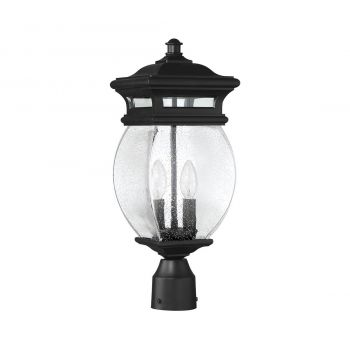"Savoy House Seven Oaks 7.25"" 2-Light Outdoor Post Lantern in Black"