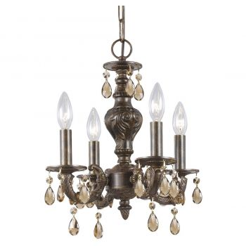 """Crystorama Paris Market 4-Light 16"""" Mini Chandelier in Venetian Bronze with Golden Teak Swarovski Crystals"""