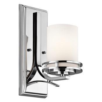 """Kichler Hendrik 12"""" 1-Light Bathroom Wall Sconce in Chrome"""