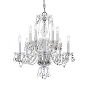 """Crystorama Traditional Crystal 10-Light 25"""" Traditional Chandelier in Polished Chrome with Clear Hand Cut Crystals"""