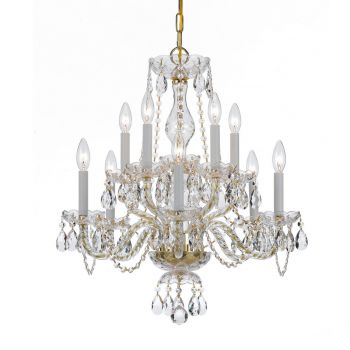 """Crystorama Traditional Crystal 10-Light 25"""" Traditional Chandelier in Polished Brass with Clear Hand Cut Crystals"""