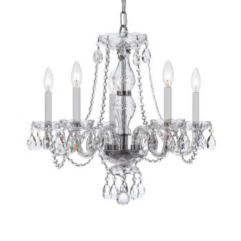 """Crystorama Traditional Crystal 5-Light 22"""" Traditional Chandelier in Polished Chrome with Clear Hand Cut Crystals"""