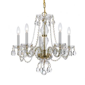 """Crystorama Traditional Crystal 5-Light 22"""" Chandelier in Polished Brass with Clear Hand Cut Crystals"""
