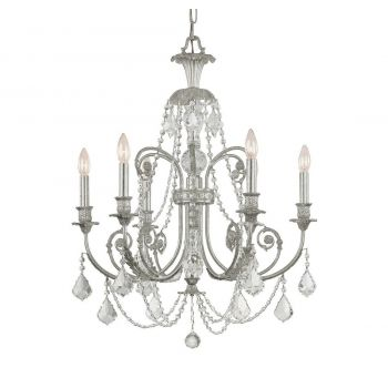 """Crystorama Regis 6-Light 30"""" Traditional Chandelier in Olde Silver with Clear Italian Crystals"""