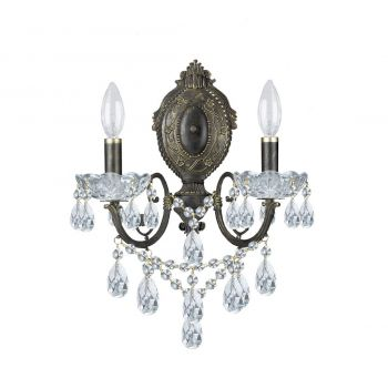 """Crystorama Legacy 2-Light 15"""" Wall Sconce in English Bronze with Clear Italian Crystals"""