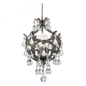 """Crystorama Legacy 3-Light 14"""" Mini Chandelier in English Bronze with Clear Spectra Crystals"""