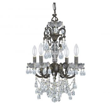 """Crystorama Legacy 4-Light 21"""" Mini Chandelier in English Bronze with Clear Italian Crystals"""