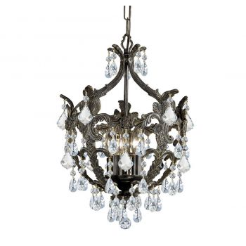 """Crystorama Legacy 5-Light 20"""" Mini Chandelier in English Bronze with Clear Swarovski Strass Crystals"""