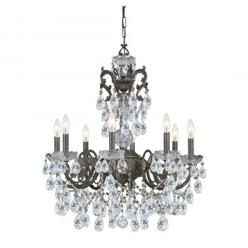 """Crystorama Legacy 8-Light 30"""" Traditional Chandelier in English Bronze with Clear Italian Crystals"""