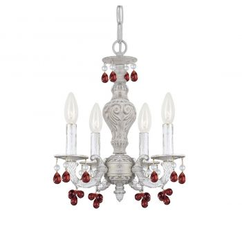"""Crystorama Paris Market 4-Light 15"""" Mini Chandelier in Antique White with Murano Crystals"""