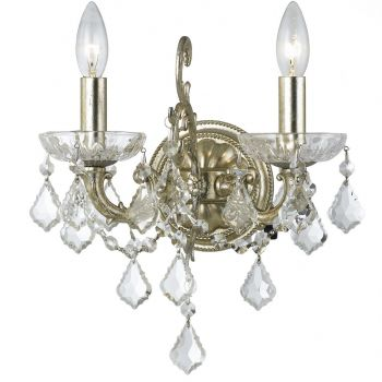 """Crystorama Highland Park 2-Light 13"""" Wall Sconce in Olde Silver with Clear Spectra Crystals"""