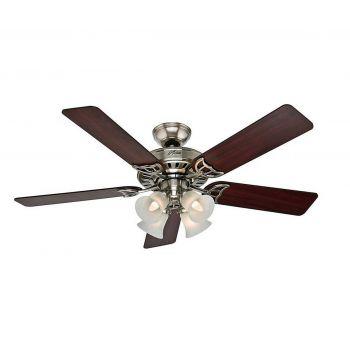 """Hunter Studio Series 52"""" Ceiling Fan in Brushed Nickel"""