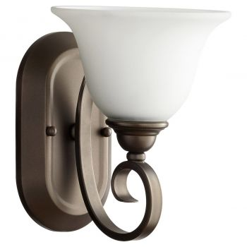 """Quorum Celesta 10"""" Wall Sconce in Oiled Bronze with Satin Opal"""