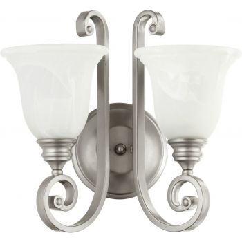"""Quorum Bryant 2-Light 14"""" Wall Sconce in Classic Nickel"""