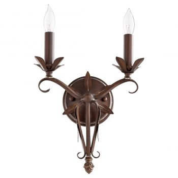"""Quorum Flora 2-Light 13"""" Wall Sconce in Vintage Copper"""