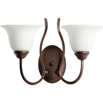 """Quorum Spencer 2-Light 11"""" Wall Sconce in Oiled Bronze with Satin Opal"""