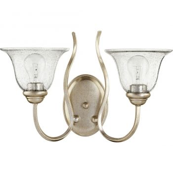 """Quorum Spencer 2-Light 11"""" Wall Sconce in Aged Silver Leaf with"""