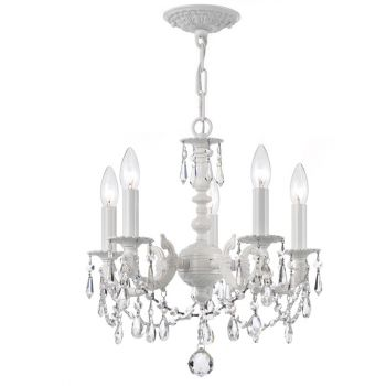 """Crystorama Paris Market 5-Light 15"""" Mini Chandelier in Wet White with Clear Hand Cut Crystals"""