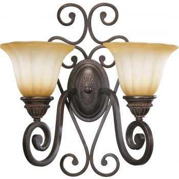 """Quorum Summerset 2-Light 17"""" Wall Sconce in Toasted Sienna"""