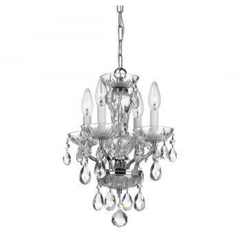 """Crystorama Traditional Crystal 4-Light 15"""" Mini Chandelier in Chrome with Clear Hand Cut Crystals"""