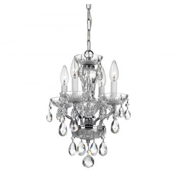 """Crystorama Traditional Crystal 4-Light 15"""" Traditional Chandelier in Chrome with Clear Spectra Crystals"""