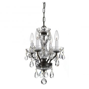 """Crystorama Traditional Crystal 4-Light 15"""" Mini Chandelier in English Bronze with Clear Italian Crystals"""