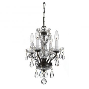 """Crystorama Traditional Crystal 4-Light 15"""" Mini Chandelier in English Bronze with Clear Hand Cut Crystals"""