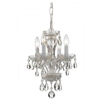 """Crystorama Traditional Crystal 4-Light 15"""" Mini Chandelier in Wet White with Clear Hand Cut Crystals"""