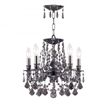 """Crystorama Hot Deal 5-Light 14"""" Mini Chandelier in Pewter with Silver Shade Hand Cut Crystals"""