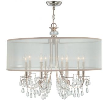 """Crystorama Hampton 8-Light 26"""" Chandelier in Polished Chrome with Clear Teardrop Almond Crystals"""