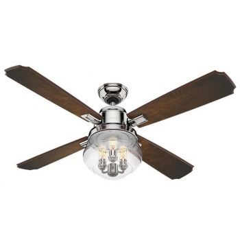 "Hunter Sophia 54"" 3-Light LED Indoor Ceiling Fan in Nickel/Chrome"