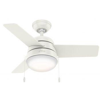 """Hunter Aker 36"""" LED Small Room Ceiling Fan in White"""