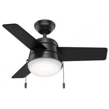 """Hunter Aker 36"""" LED Small Room Ceiling Fan in Black"""