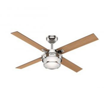"Hunter Maybeck 52"" Indoor Ceiling Fan in Polished Nickel"