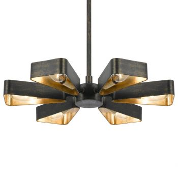 """Crystorama Luna 6-Light 4"""" Industrial Chandelier in English Bronze And Antique Gold"""