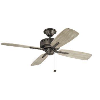 """Kichler Eads 52"""" Ceiling Fan in Olde Bronze with Weathered Oak Blades"""