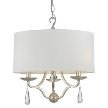 """Crystorama Manning 3-Light 18"""" Transitional Chandelier in Silver Leaf with Optical Glass Elements Crystals"""