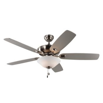 """Monte Carlo 52"""" Colony Max Plus Damp Rated Ceiling Fan in Brushed Steel"""