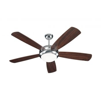 """Monte Carlo 52"""" Discus Ceiling Fan in Polished Nickel"""