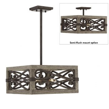 "Savoy House Amador 14"" 4-Light Ceiling Light in Noblewood/Iron"