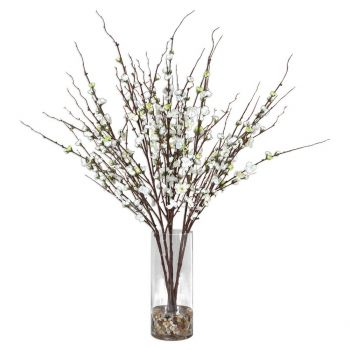 "Uttermost Quince Blossoms 36"" Silk Flower Centerpiece in Clear Glass"