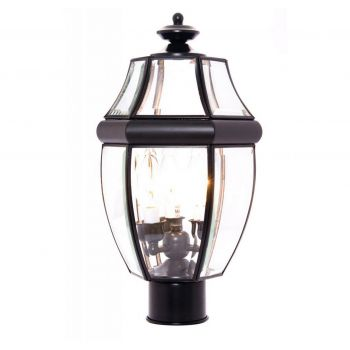 "Maxim Lighting South Park 18.5"" 3-Light Outdoor Post Lantern in Black"