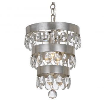 """Crystorama Perla 14"""" Mini Chandelier in Antique Silver with Clear Elliptical Faceted Crystals"""