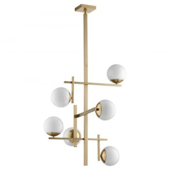 """Quorum Atom 6-Light 30"""" Transitional Chandelier in Aged Brass with Opal"""
