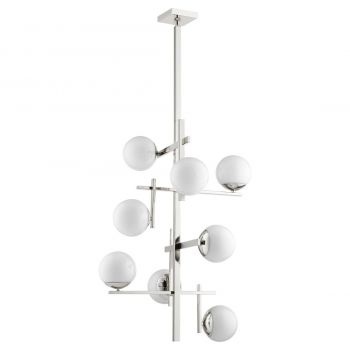"""Quorum Atom 8-Light 36"""" Transitional Chandelier in Polished Nickel with Opal"""