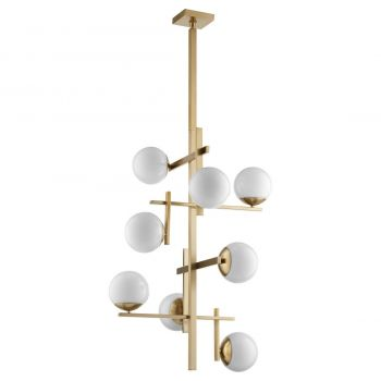 """Quorum Atom 8-Light 36"""" Transitional Chandelier in Aged Brass with Opal"""